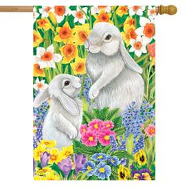 Spring Friends Bunnies House Flag