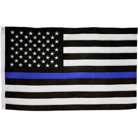 Thin Blue Line Embroidered Grommet Flag