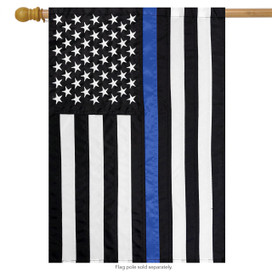 Thin Blue Line Police Embroidered House Flag