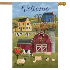Spring Countryside Welcome Primitive House Flag