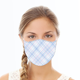 Blue and Pink Plaid Reusable Cloth Face Mask