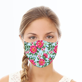 Blue & Pink Floral Reusable Cloth Face Mask