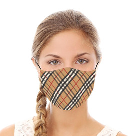 Tan & Red Plaid Reusable Cloth Face Mask