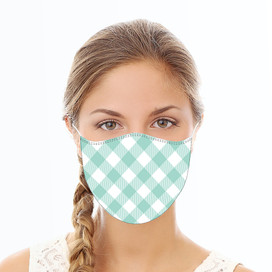 Mint Plaid Reusable Cloth Face Mask