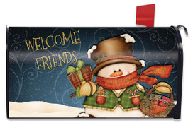 Welcome Friends Snowman Winter Magnetic Mailbox Cover