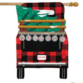 Red Checkered Truck Christmas Burlap House Flag