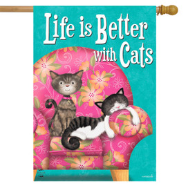 Life Is Better With Cats House Flag