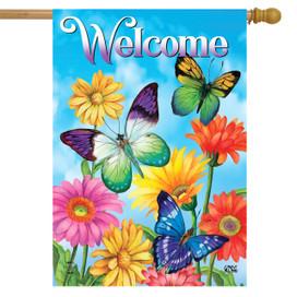 Fluttering Butterflies Spring House Flag