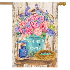 Farm Fresh Peonies Spring House Flag