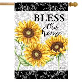 Bless This Home Sunflowers Summer House Flag