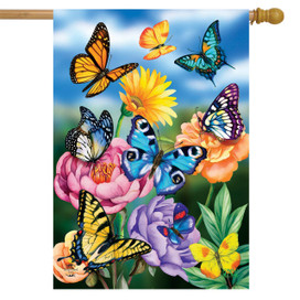 Butterflies In The Garden Spring House Flag