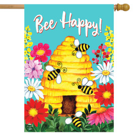 Bee Happy Hive Spring House Flag
