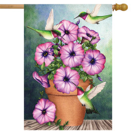 Potted Petunias Spring House Flag