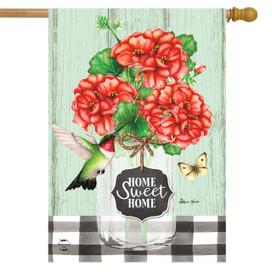 Home Sweet Home Geraniums Summer House Flag