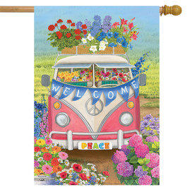 Peace Van Floral Spring House Flag