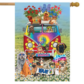Groovy Pups Spring House Flag