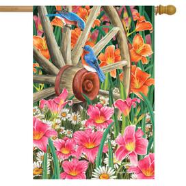 Wagon Wheel Floral Spring House Flag