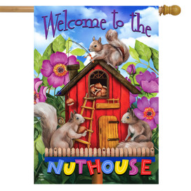 Spring Nuthouse Squirrels House Flag