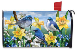 Bluebirds And Daffodils Spring Mailbox Cover