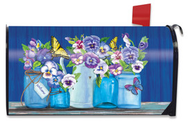 Butterflies and Pansies Spring Mailbox Cover