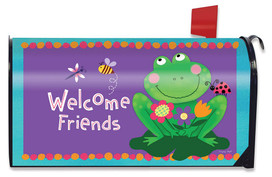 Welcome Friends Frog Summer Magnetic Mailbox Cover