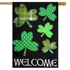 Shamrocks St. Patrick's Day Burlap House Flag