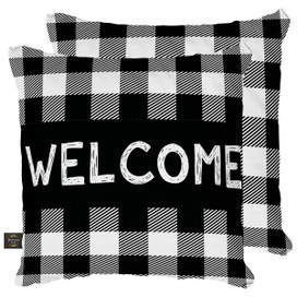 Black Checkered Welcome Everyday Decorative Pillow
