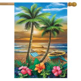 Sunset in Paradise House Flag