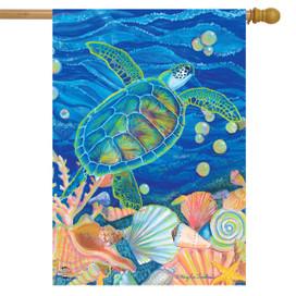 Swimming Sea Turtle Summer House Flag