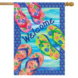 Colorful Flip Flops Summer House Flag