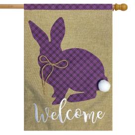 Cottontail Rabbit Spring Burlap House Flag