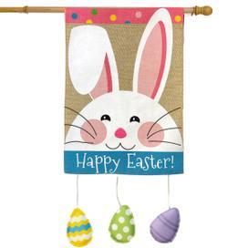 Happy Easter Bunny Burlap House Flag