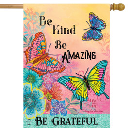 Be Grateful Butterflies Spring House Flag