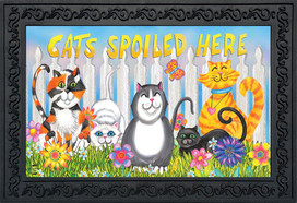 Cats Spoiled Here Floral Doormat