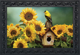Goldfinch and Sunflowers Summer Doormat