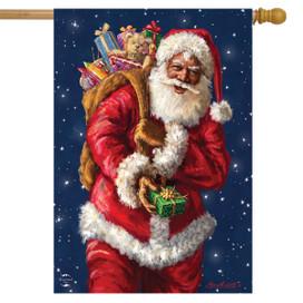 Black Santa Claus Christmas House Flag