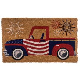 Patriotic Truck Natural Fiber Coir Doormat