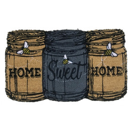 Home Sweet Home Mason Jars Spring Natural Fiber Coir Doormat