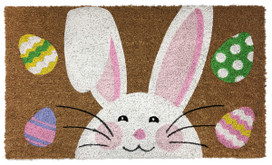 Happy Easter Bunny Natural Fiber Coir Doormat