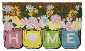 Home Sweet Home Mason Jars Floral Natural Fiber Coir Doormat