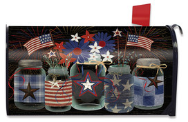 American Mason Jar Patriotic Mailbox Cover
