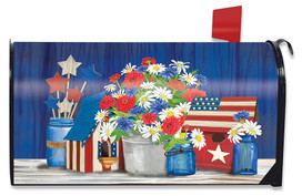 Red White and Blue Patriotic Mailbox Cover