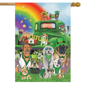 Lucky Pups St. Patrick's Day House Flag