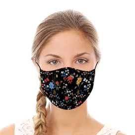 Black Floral Reusable Cloth Face Mask