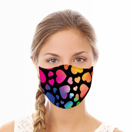 Rainbow Hearts Reusable Cloth Face Mask