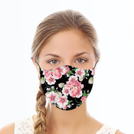 Pink & Black Floral Reusable Cloth Face Mask