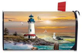 Sunset Lighthouse Summer Mailbox Cover