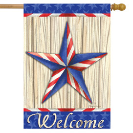 Patriotic Barnstar House Flag