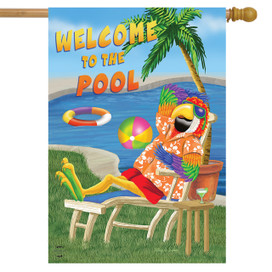 Welcome To The Pool Summer House Flag