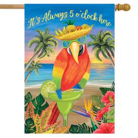 Always 5 O'Clock Parrot Summer House Flag
